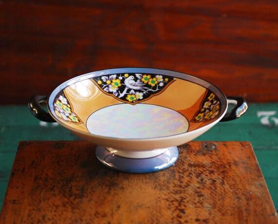 Noritake Porcelain Lustreware Candy Dish, Orange and Blue