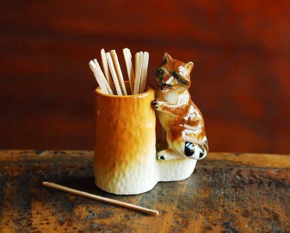 Ceramic Figurine Raccoon & Tree Trunk Toothpick Holder, Woodland Creatures