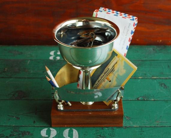 Desk Organizer Upcycled Trophy, Catch All Organizer, Office Desk Accessory