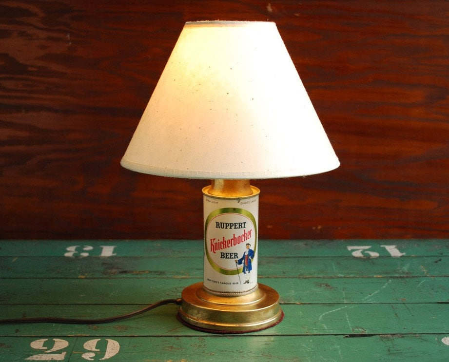Upcycled Reclaimed Beer Can Desk Lamp Vintage Knickerbocker