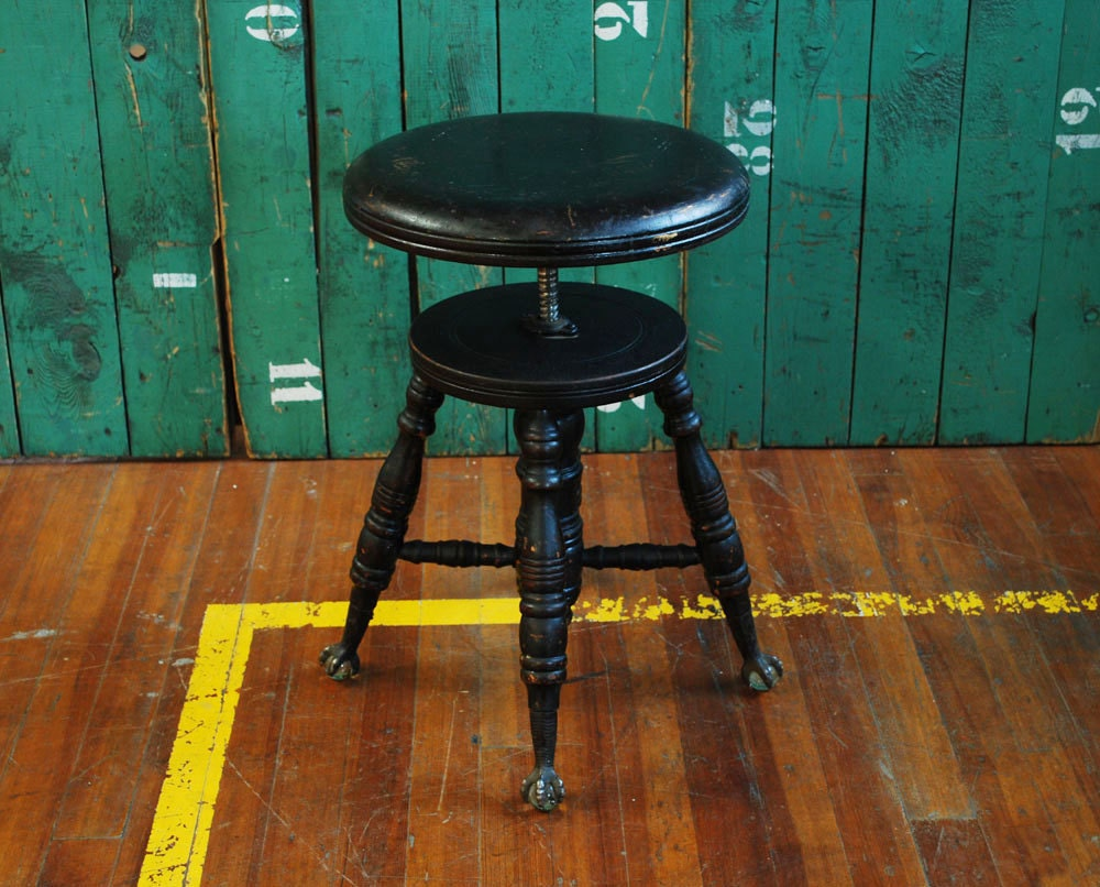 Antique Piano Stool Glass Ball And Claw Foot By Bingobox