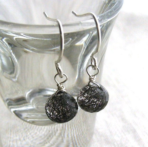 Tourmalinated  Quartz Earrings in Sterling Silver - Faceted Tourminalated Quartz Briolettes