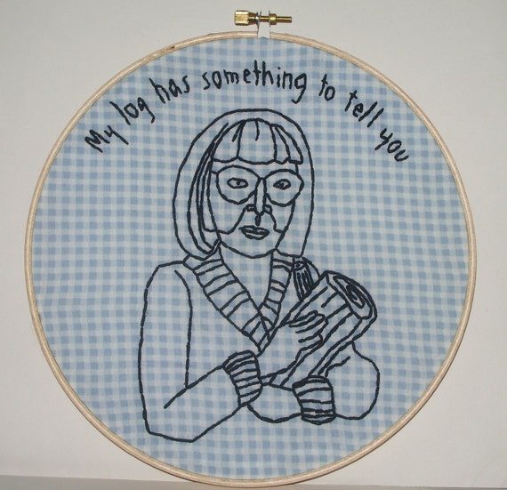 Twin Peaks Log Lady Embroidery--Wall Art
