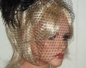 Black Bridal French Net Birdcage Bridal Veil with Satin Rose Fascinator, Ostrich Feather head piece