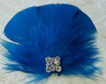 Turquoise feather fascinator bridal wedding prom hair accessory clip