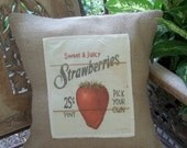 Burlap Pillow with Vintage Sign