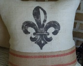 French Fleur De Lis Pillow in Cream Burlap