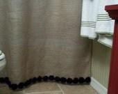 Burlap Shower Curtain - Shabby Black Flower Trim