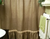 Tea Stained Shabby Chiffon Floral Trim - Gathered Bottom- Burlap Shower Curtain