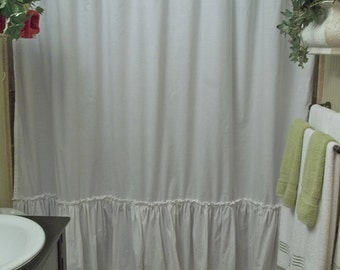 Shabby Chic Ruffled - White Shower Curtain