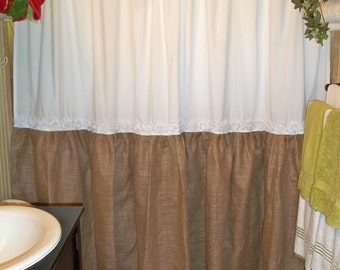Shabby Floral Trim - Burlap Shower Curtain - Burlap & Cotton Gathered Shower Curtain