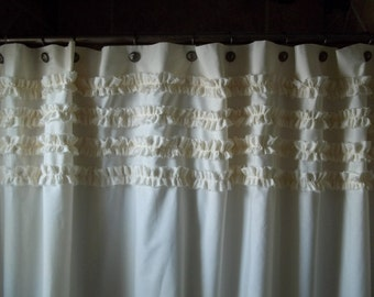 Shabby Chic - Cottage- Beach - Washed Ivory Cotton Ruffles Shower Curtain
