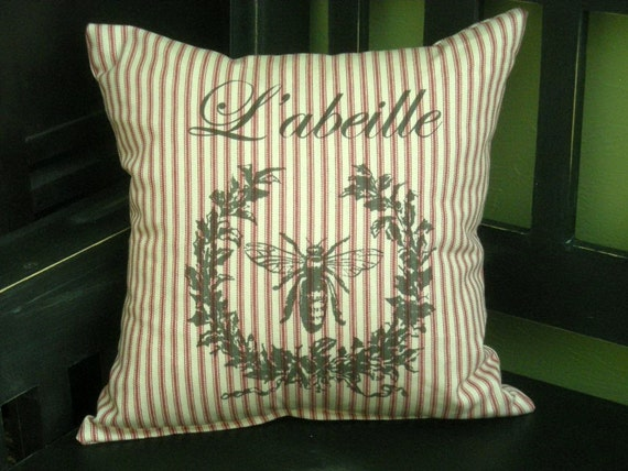 French L' abeille Bee w/Wreath Red Ticking Pillow
