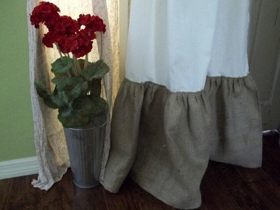 Burlap - White Cotton Tab Top/Pole Top Curtain Panel