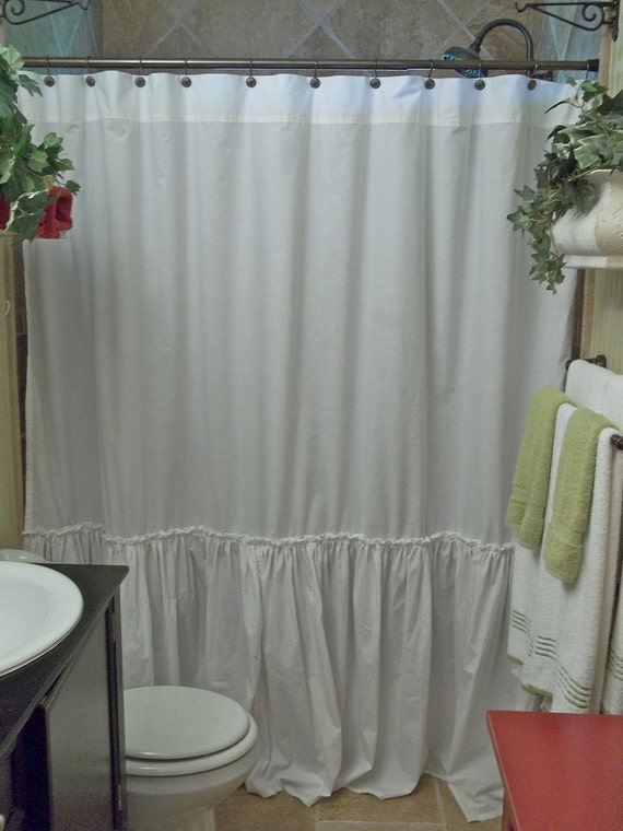 Shabby Chic Ruffled White Shower Curtain