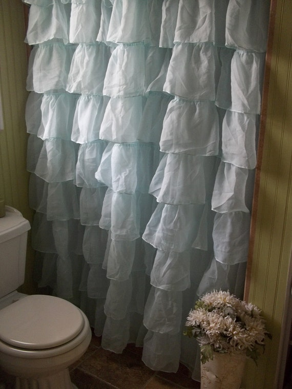 Shabby chic waterfall ruffle spa blue shower curtain for Shabby chic rhinestone shower hooks