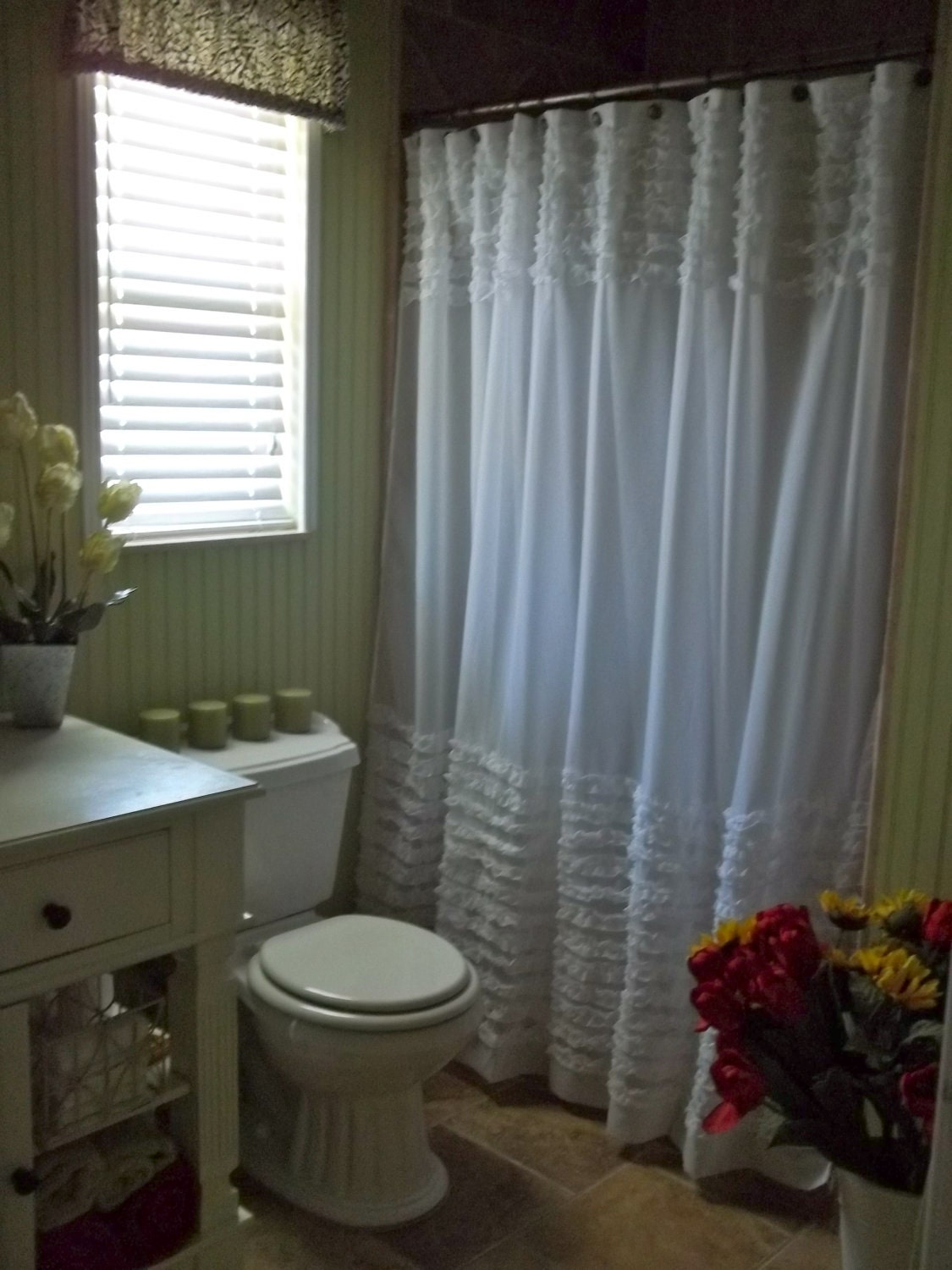 Shabby chic ruffles shower curtain for Shabby chic rhinestone shower hooks