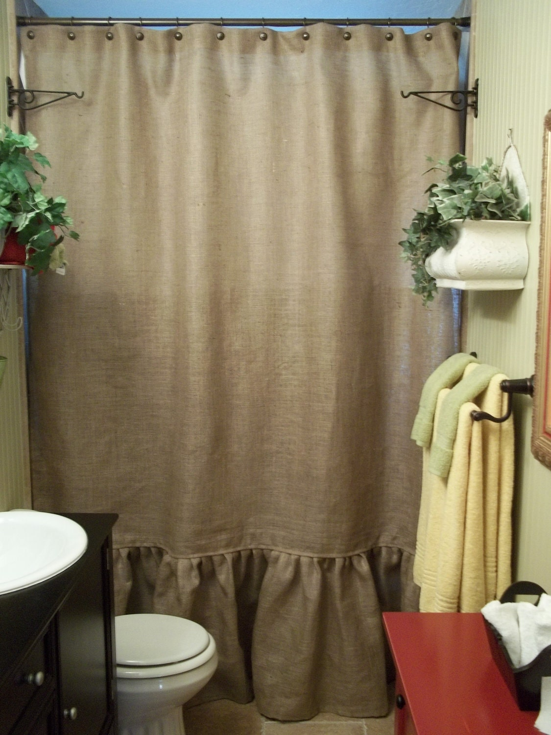 Ruffled Bottom Burlap Shower Curtain by SimplyFrenchMarket on Etsy