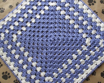 Crocheted Pet Blanket - Lilac Purple/White