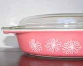 Pyrex Pink Daisy Oval Divided Covered Serving Dish