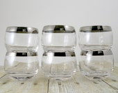 Silver rim roly poly tumblers cocktail party set double shot glasses Mad Men Dorothy Thorpe style - set of six