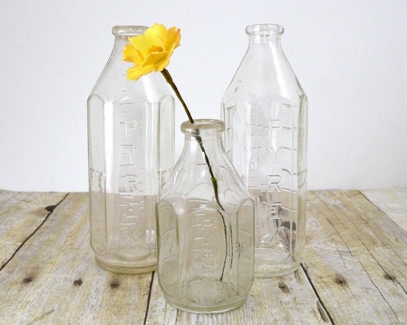 Pyrex glass baby bottles - bud vase - clear glass - set of three instant collection - great for nursery decor