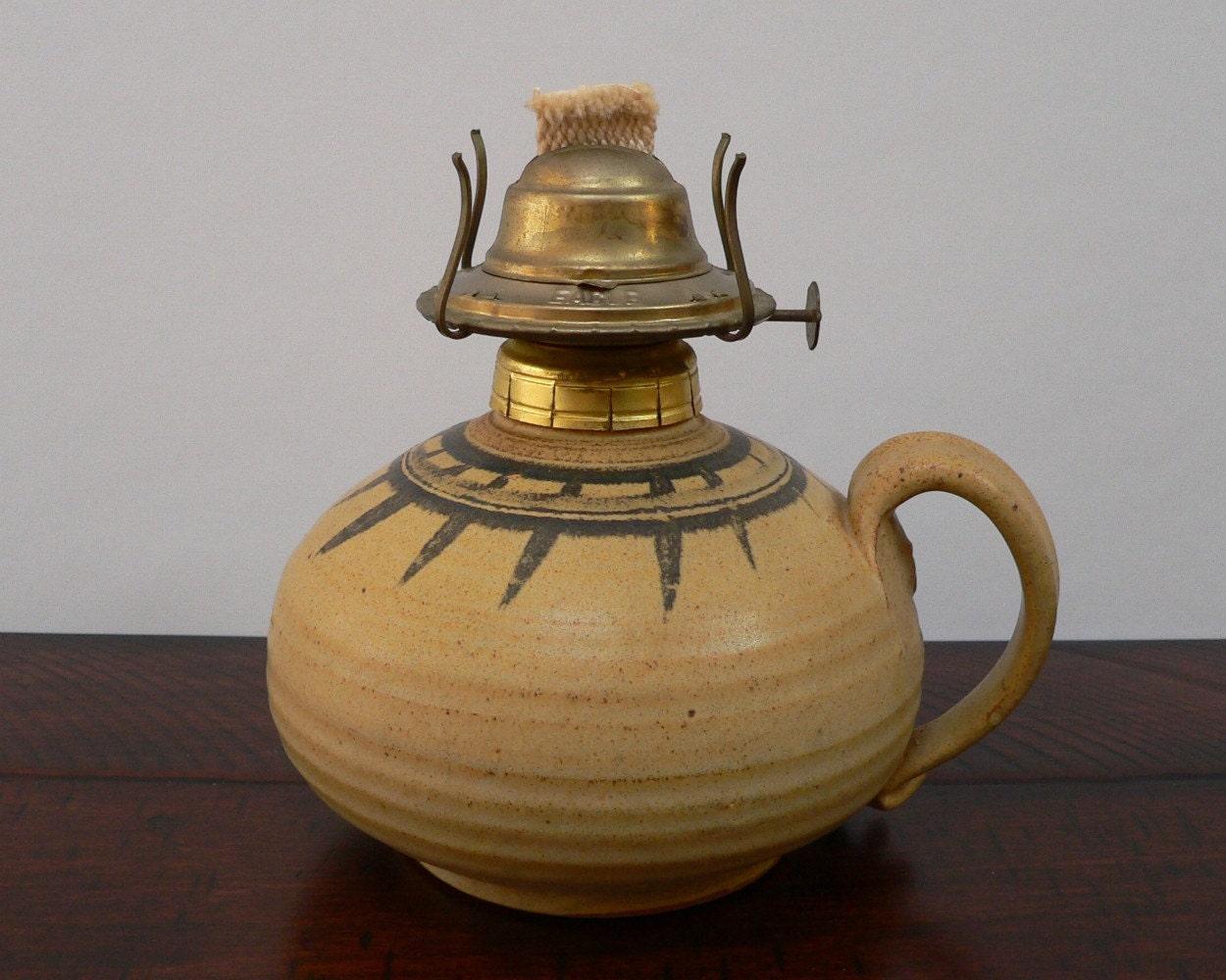 Handmade Ceramic Oil Lamps : Handmade pottery oil lamp s slip glaze brown handthrown
