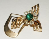 Emerald Green and White Rhinestone Brooch or Pin 1950s
