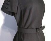Vintage 1950s Dress - 50s Wiggle Dress - Solid Black