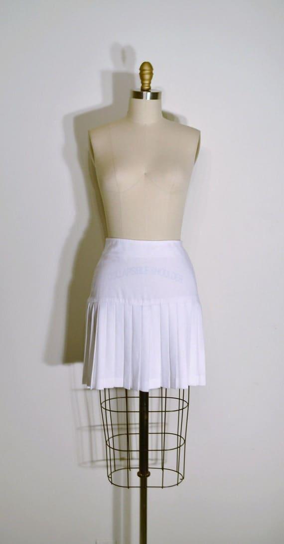 Vintage 1970s Skirt - 70s Short Pleated Skirt - Solid White