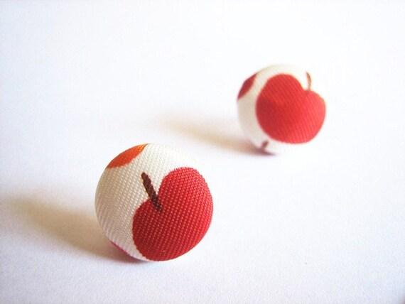 Teachers Pet - Upcycled - Fabric Covered Button Earrings - Repurposed - Vintage Scarf - Apple earrings - Fruit earrings - cherry earrings