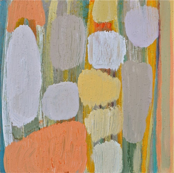 Modern Abstract Pastels in Circle Shapes and Stripes-Acrylic on Upcycled Wood- Textured- Grays-Whites-Yellows-Oranges and Greens