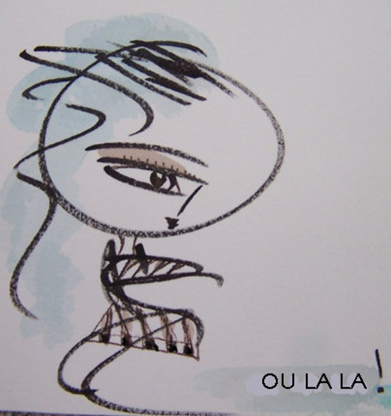 Ou La La Girl Small Mixed Media Drawing Ink, Marker and Watercolor in Mod plaid dress. White, Brown, black and seafoam light blue colors.