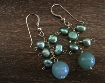 Green Dangly Pearl/Aventurine Gold-Filled Earrings (A12)