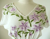 Vintage Orchid Dress White Embroidered Peek-a-Boo Crochet