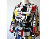 Vintage Mondrian Shirt Dress - Mod Bold Color Block Squares