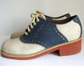 Vintage Navy Blue & Cream Saddle Shoes - Oxford School Girl Style Sz 7.5 / 8