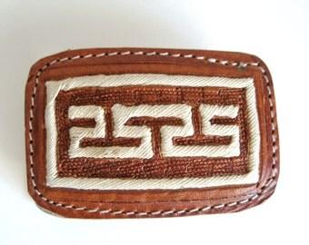 BLACK FRIDAY SALE -  Vintage Greek Key Belt Buckle - Embroidered Leather