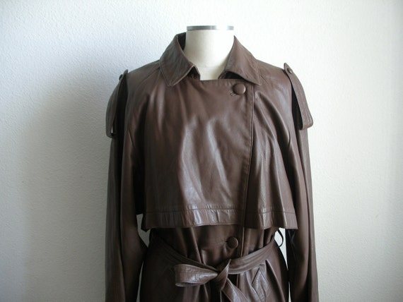 Vintage Trench Coat, Leather Duster - Dark Brown / French Roast - Super Soft & Full Length