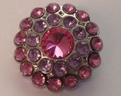Cluster Pink & Lavender  Rhinestone Blingy Button - 24mm - 5 pieces