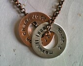 CUSTOM listing Men OR  Women--Mixed Metal Customizable Washers...Personalized Hand Stamped Necklace
