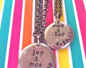 NEW-HIS & HERs...dark chocolate and tulips Wedding Collection..Hand Stamped