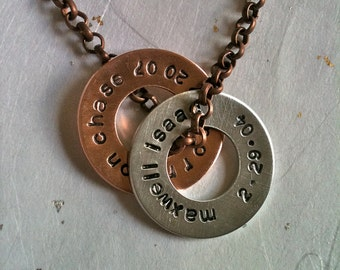 Men OR  Women--Mixed Metal Customizable Washers...Personalized Hand Stamped Necklace
