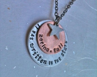 It Was Written In The Stars...Rustic Mixed Metal Hand Stamped Necklace