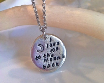 NEW--i Love You to the Moon & Back--wHimSiCaL aRt--Hand Stamped Pewter Collection-Wedding or Bridesmaids