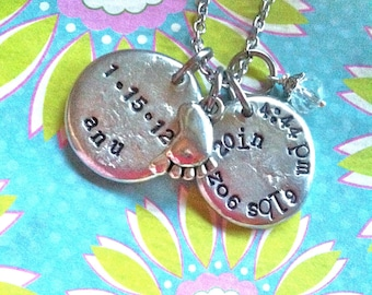 NEW BABY STATS...Hand Stamped Charm Necklace