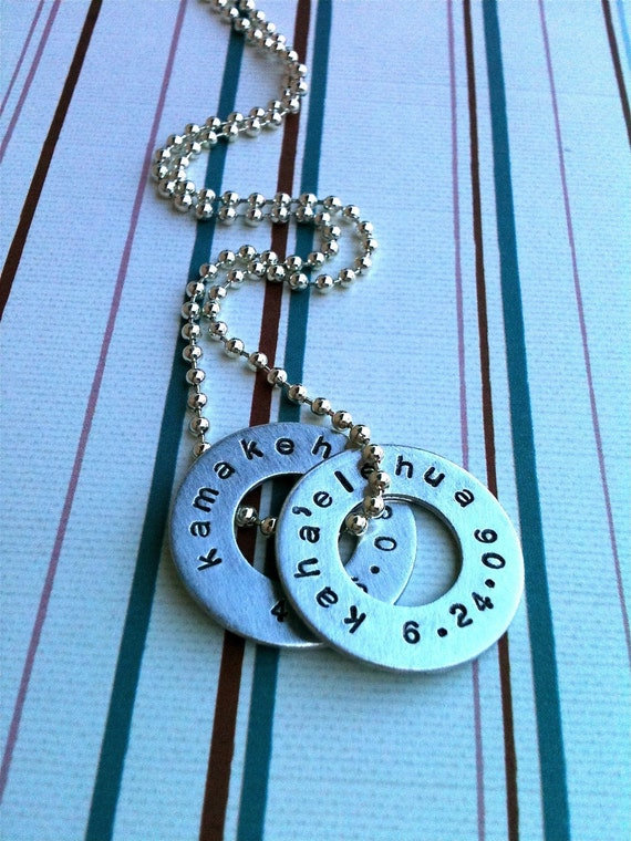 Double Love- great for MEN or WOMEN..... Personalized Hand Stamped Washer Necklace