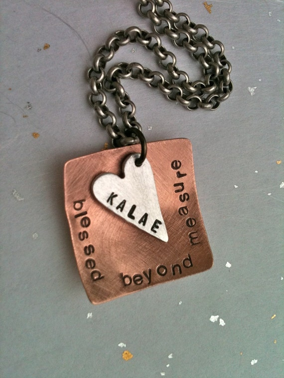 Custom Listing For Amy..Blessed Beyond Measure...Hand Stamped Personalized Necklace