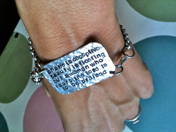 Drop Baby Drop-Original Rustic Hammered Hand Stamped Personalized Phrase Bracelet