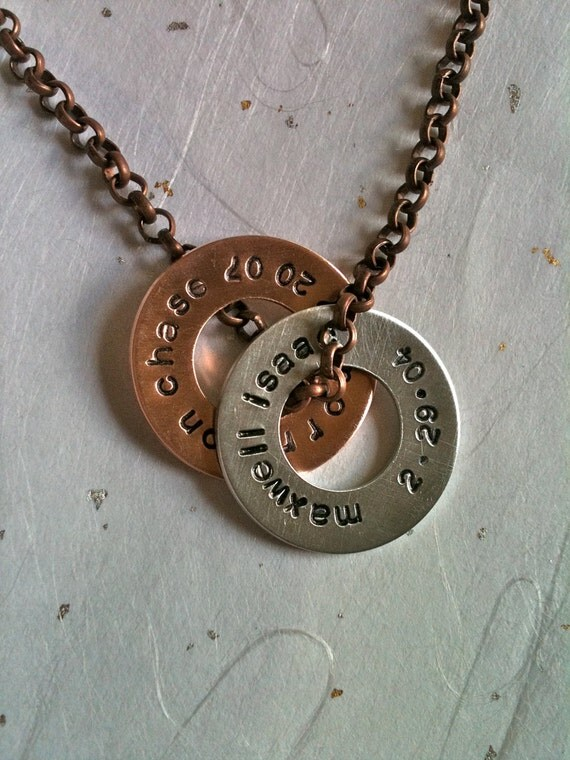 DAD-MEN OR Women--Mixed Metal Customizable Washers...Personalized Hand Stamped Necklace